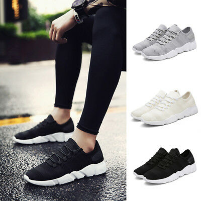 Men Outdoor Sports Jogging Running Sneakers Casual Flats Shoe Black White Gray