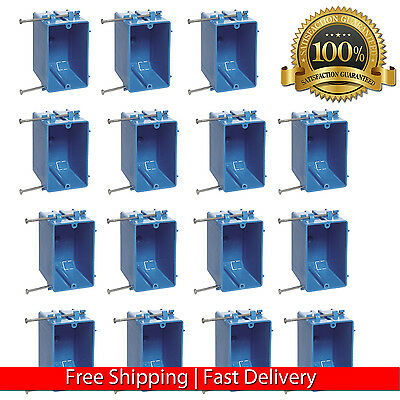 "15 Pcs Single Gang 18"" Wall Outlet Light Switch Plastic Electrical Box New Work"