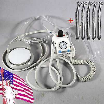 Portable Dental Turbine Unit Work w/ Compressor + High Speed Handpiece 5pc SN4AA