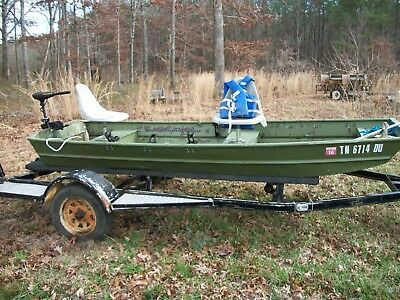 1974 12 Foot Jon Boat And Trailer With Trolling Motor