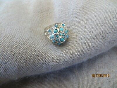 Old Vintage Cairo Egypt Egyptian Domed Sterling Turquoise Hand Crafted Ring- s.6
