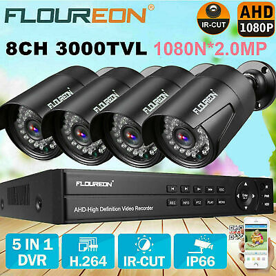 FLOUREON 4CH Wireless DVR Recorder Outdoor 1080P WIFI IP Camera NVR System KIT