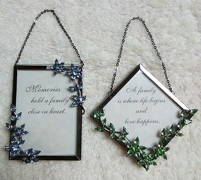 Vintage Mini Metal Jeweled Picture Frames - TWO SIDED with hanging chains