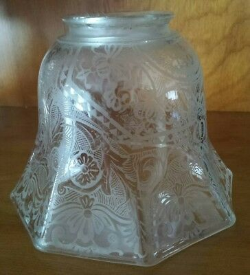 """Vintage Frosted Etched Scroll Glass Lamp Light Shade Globe - Fits 1 1/2"""" Fitter"""