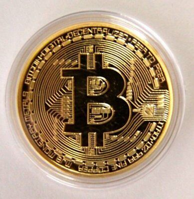 A+ Gold Bitcoin Commemorative Round Collectors Coin Bit Coin is Gold Plated Coin