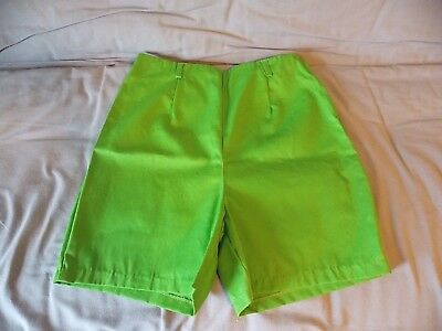 Womens NOS True Vintage High Waisted Side Zip Shorts Lime Green Sz 34