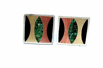 SIGNED Vtg TAXCO Modernist Sterling Silver COPPER Brass Mixed Metal Cufflinks