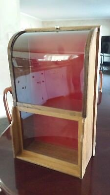 antique curved glass display case for wall or counter mount