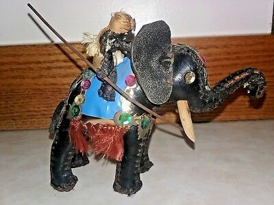 Vintage Handmade Leather African Man On Elephant Collectible