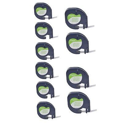10PK Paper Tape  Label Compatible for DYMO Letra Tag LT91330 12mm Black on White