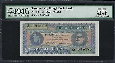 Bangladesh ND (1972) P-8 PMG About UNC 55 10 Taka