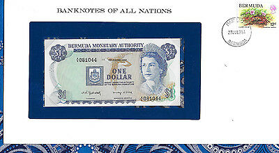 *Banknotes of All Nations Bermuda 1 Dollar 1982 AUNC P28b.3 prefix A/6