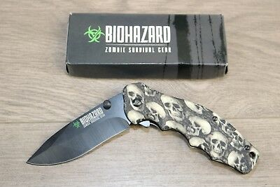 Wartech YC S 9504 SGY Spring Assisted Opening Rescue Folding Knife Grey Skull 8