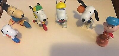 Vintage PEANUTS Rubber FIGURINES with CHARLIE BROWN and SNOOPY  sports Lot of 6