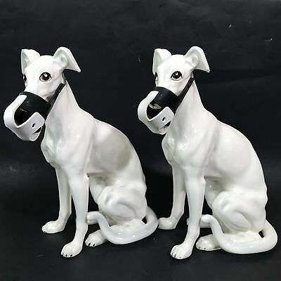 Vtg 2pc Large Bisque White Porcelain Greyhound Sitting Race Dog Statue Figurines