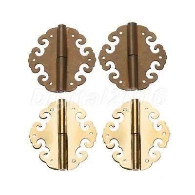 2 Hinge Chinese Furniture Brass Hardware Copper For Trunk Cabinet Box Chest Door