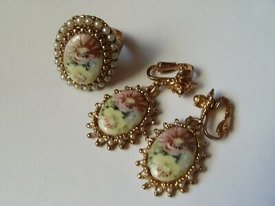 Vintage  Porcelain Flower Cameos W Pearl Surrounds Costume Ring & Earrings Set