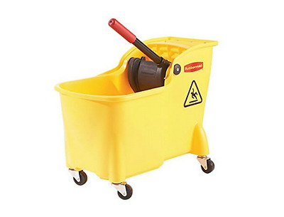 Commercial Mop Bucket With Wringer Janitor Cleaning Rubbermaid Custodian Yellow
