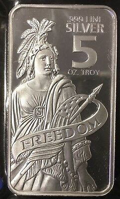 5 Oz Troy .999 Fine Freedom Silver Bar~Statue Of Freedom Cameo~Free Shipping