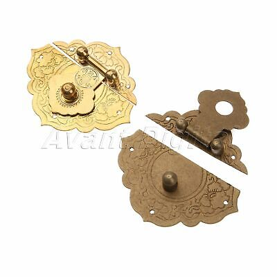 Classic Chinese Antique Buckle Pure Copper Hardware Wooden Box Lock Latch Bronze
