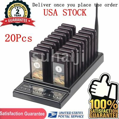 20 Restaurant Coaster Pager Guest Call Wireless Calling System (999 Channels)