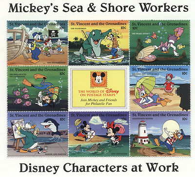 ST VINCENT /GRENADINES DISNEY On Stamps MICKEY Mouse SEA & SHORE WORKERS Donald