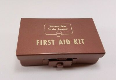 Vintage National Mine Service Co. small brown metal first aid box travel kit