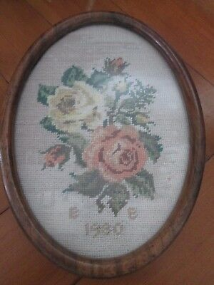Vintage  Needle Point Floral Picture