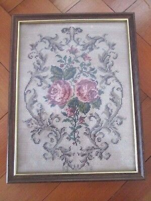 Vintage English  Needle Point Floral Picture