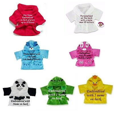 Teddy Bear Clothes fits Build a Bear Dressing Gown Robe Personalised