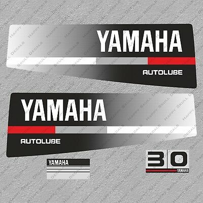 Yamaha 30 HP Autolube Two Stroke Outboard Engine Decals Sticker Set reproduction