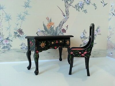 Dolls House Hand Painted Chinoiserie Ladies Desk Dressing Table and Chair