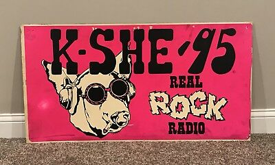 Vintage 1970s KSHE 95 Large Bus Advertising Sign Sweet Meat w/ Joint Scarce!