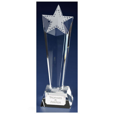 Crystal Trophy Size 23.5 Cm Free Engraving (In Presentation Box) Kk204