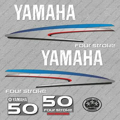 Yamaha 50HP Four Stroke Outboard Engine Decals Sticker Set reproduction 50 HP