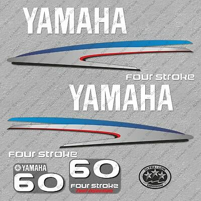 Yamaha 60HP Four Stroke Outboard Engine Decals Sticker Set reproduction 60 HP