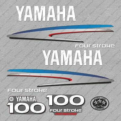 Yamaha 100HP Four Stroke Outboard Engine Decals Sticker Set reproduction 100 HP
