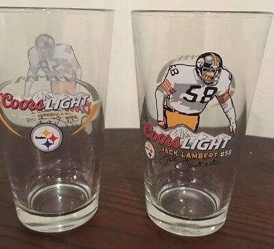 Coors Light Pittsburgh Steelers NFL, Pair of Pint glasses, hall of fame series