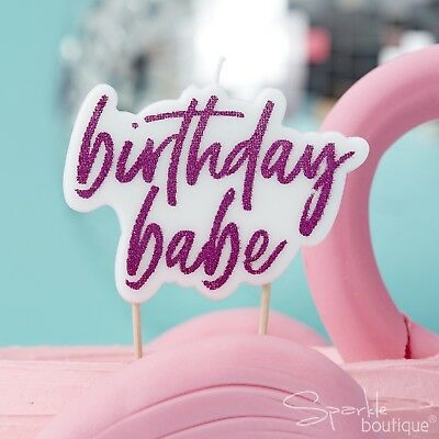'BIRTHDAY BABE' CANDLE - White & Hot Pink Glitter -Cake- Good Vibes Party Range