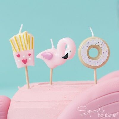FLAMINGO, FRIES & DONUT CANDLES x6 - Birthday Cake Decorations -Good Vibes Party