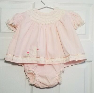 Vintage Pink Dress Lace, Ribbon, and Duck Applique w/ Bloomers Spring Sz 12-18M?