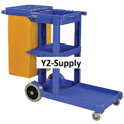 NEW! Janitor Cart Blue with 25 Gallon Vinyl Bag!!