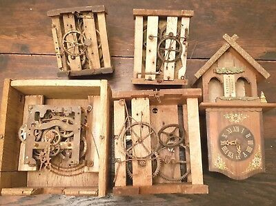 (5) Old Black Forest Cuckoo Clock Movement Parts Units Clock Case Germany Lot 2