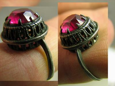 EXCELLENT ! AUTHOR'S WORK ! VINTAGE STERLING SILVER RING with STONE !  #109
