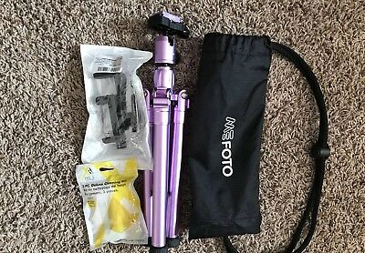 Bundle -MeFOTO BackPacker Air Travel Tripod/Purple, cleaner kit and phone mount