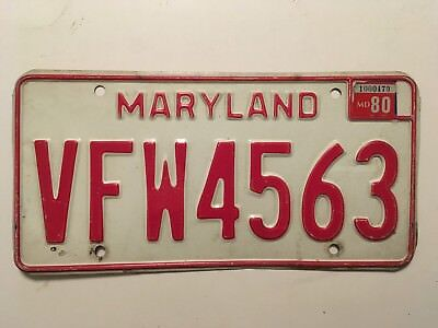 1980 Maryland VFW License Plate Military Army Navy Veteran LOW $3.99 SHIPPING