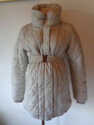 Mama-Licious Maternity Silver Grey Quilted Belted Coat Jacket Size M 10-12