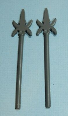 LEGO Castle Minifigure Lot of 2 Elaborate Pike Spear Dark Bluish Gray Weapon