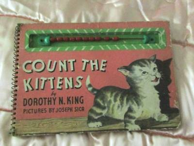 """Unusual Vintage """"Count The Kittens"""" Book C1949 Has Wood Counting Beads Cat Kitty"""