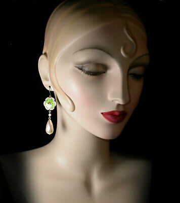~GORGEOUS VINTAGE 1950's CHINESE PEARLIZED CLOISONNE' DROP EARRINGS!~~
